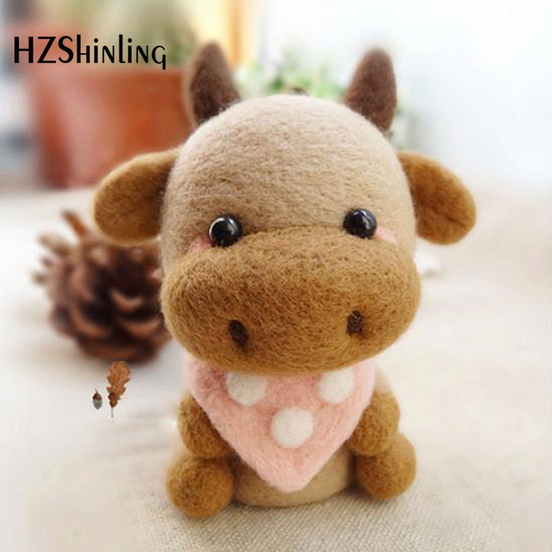 2019 Creative Cute Bull ox Toy Doll Wool Felt Poked Kitting Non-Finished Handcarft Wool Felting Material Package(China)