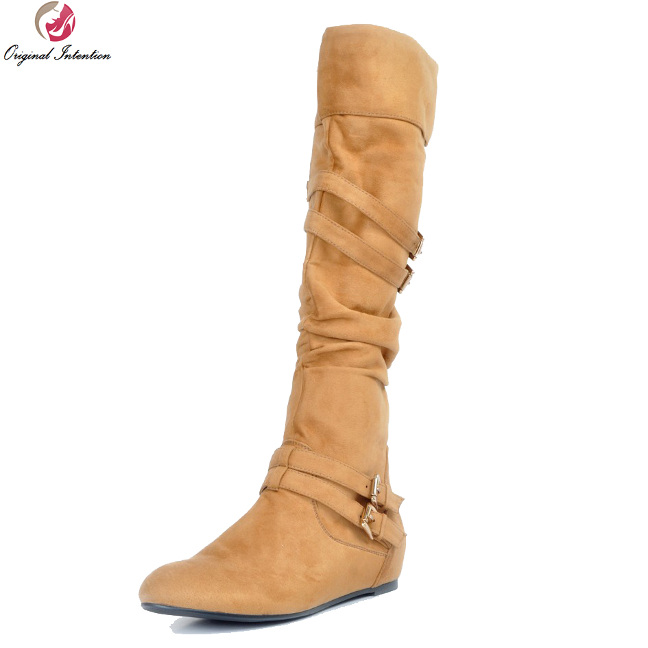 Original Intention Women Knee-High Boots Stylish Round Toe Boots High-quality Yellow Shoes Woman Plus US Size 4-15