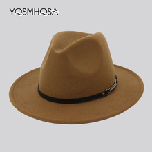 New Fashion Women Winter Autumn Wool Fedora Bowler Hat Men Church Hats Ladies Jazz Cap Fedora Hat for Woman Wholesale WH710