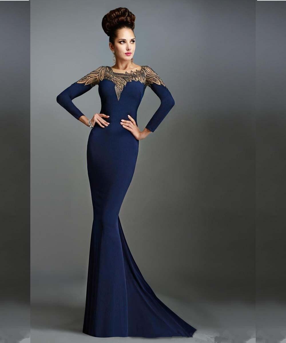 Exquisite Blau Chiffon Perlen Langarm Meerjungfrau Abendkleider