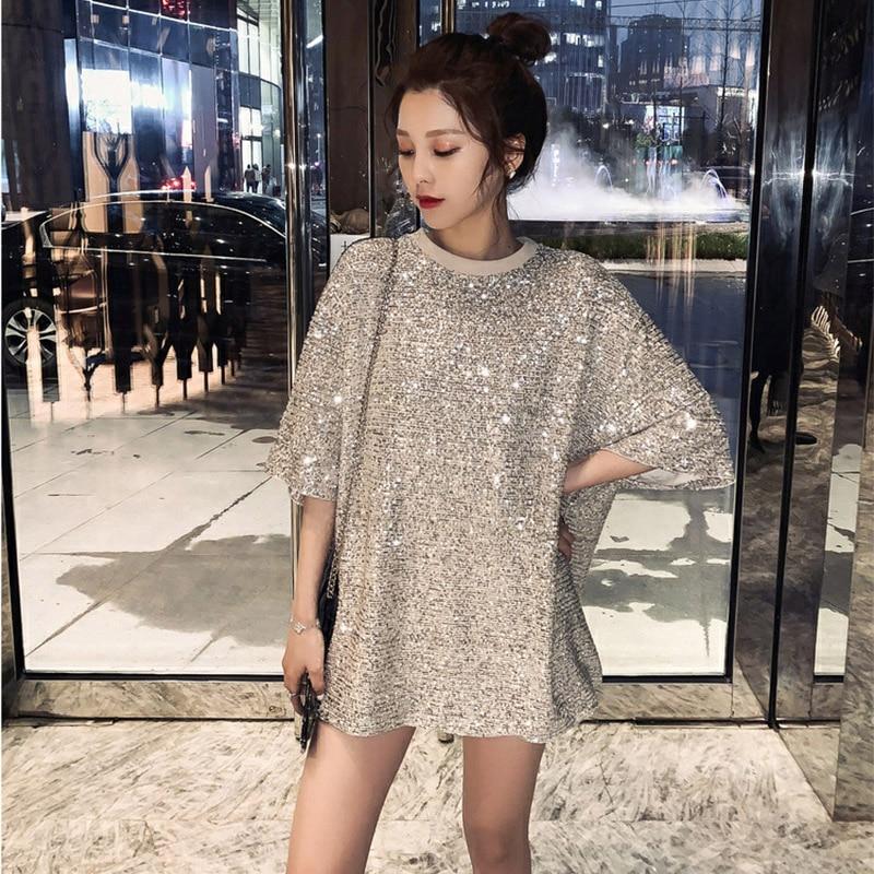 Длинная свободная футболка YingYuanFang, Корейская версия, с блестками, для тяжелой работы