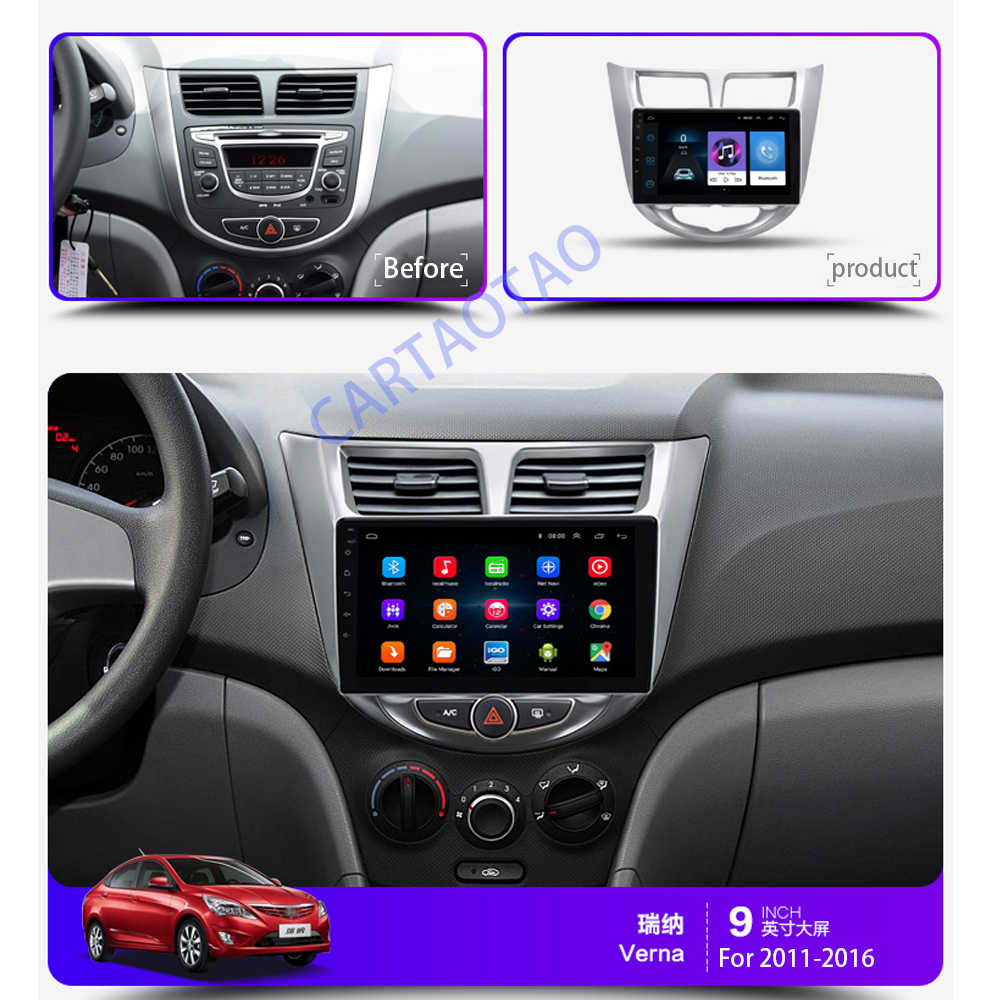 9''2 din Android 8.1 car DVD player for modern Solaris accent Verna 2011-2016 radio recorder Gps WIFI usb DAB+ audio