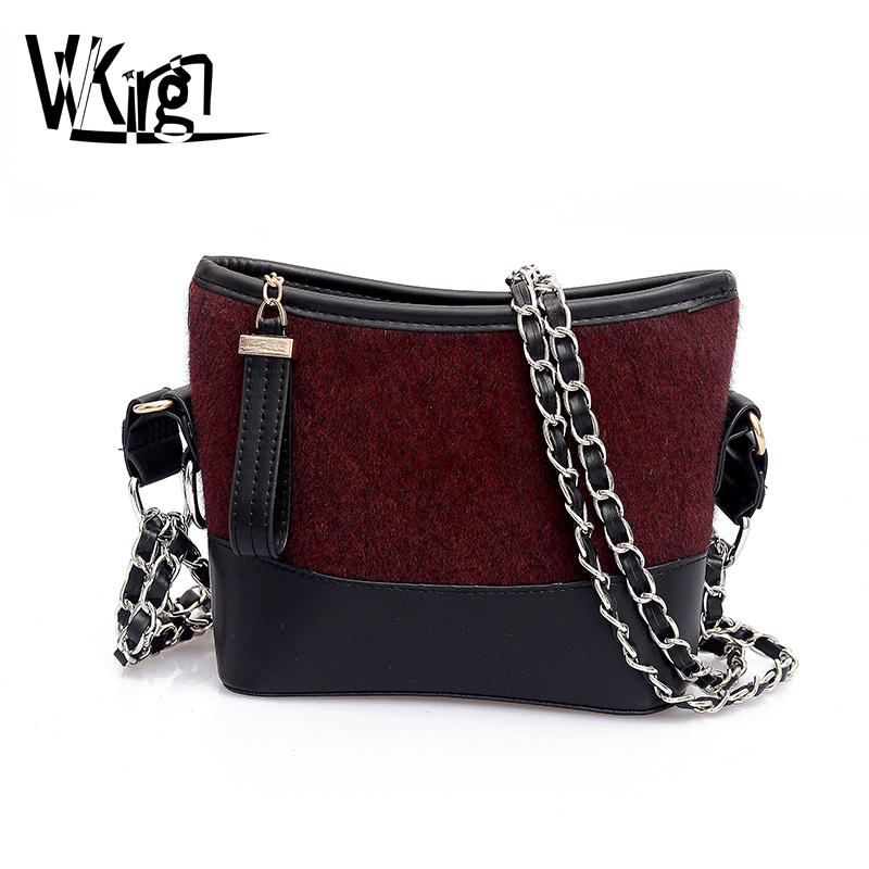 VVKing Tweed High Quality Microfiber Leather Double Chain Quilted Plaid Hobo Shoulder Crossbody Messenger Bags Women' Handbags