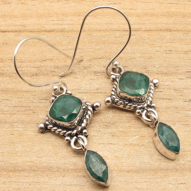 Green Emeralds 2 Semi Precious Stones Earrings Silver Plated Over Solid Copper 4 5 Cm