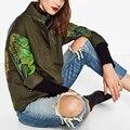 Otoño Chaqueta Mujeres Utillaje Verde Del Ejército Ropa de Abrigo de Manga Larga Mujer Graffiti Impreso Chaqueta Outwear Fall NR8998