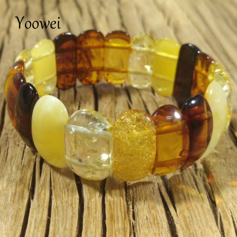 Yoowei Women Natural Amber Bracelet Top Quality Party Birthday Gift Personality Geometric Baltic Oval Amber Jewelry WholesaleYoowei Women Natural Amber Bracelet Top Quality Party Birthday Gift Personality Geometric Baltic Oval Amber Jewelry Wholesale