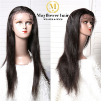 Mayflower Синтетические волосы на кружеве парики Прямые локоны 150% Плотность отбеленные узлы с ребенком волос верхней половиной парики для афро