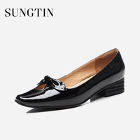 Sungtin Classic Slip On Genuine Patent Leather Flats Shoes Women Elegant Bowknot Party Shoes Spring Autumn Office Lady Flats