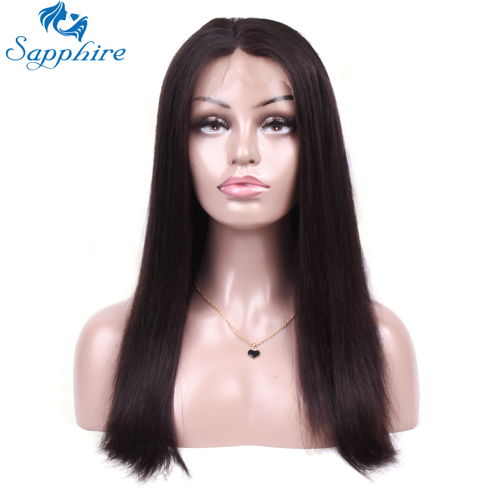 Sapphire 360 Lace Frontal Wigs For Women Black With Baby Hair Brazilian  Straight Human Hair Lace Front long Wig Free Shipping 1824d56f0