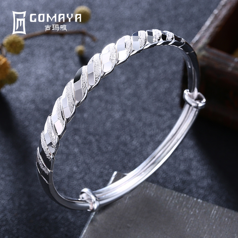 GOMAYA 100% 999 Sterling Silver Simple Style Bangles Bracelet for Women Girls Birthday Gift Elegant Fine Jewelry Adjustable