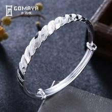 GOMAYA 100% 999 Sterling Silver Simple Style Bangles Bracelet for Women Girls Birthday Gift Elegant Fine Jewelry Adjustable цена в Москве и Питере