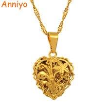 eed5493c74ae Anniyo pequeño corazón hojas y flores COLLAR COLGANTE cadena 18