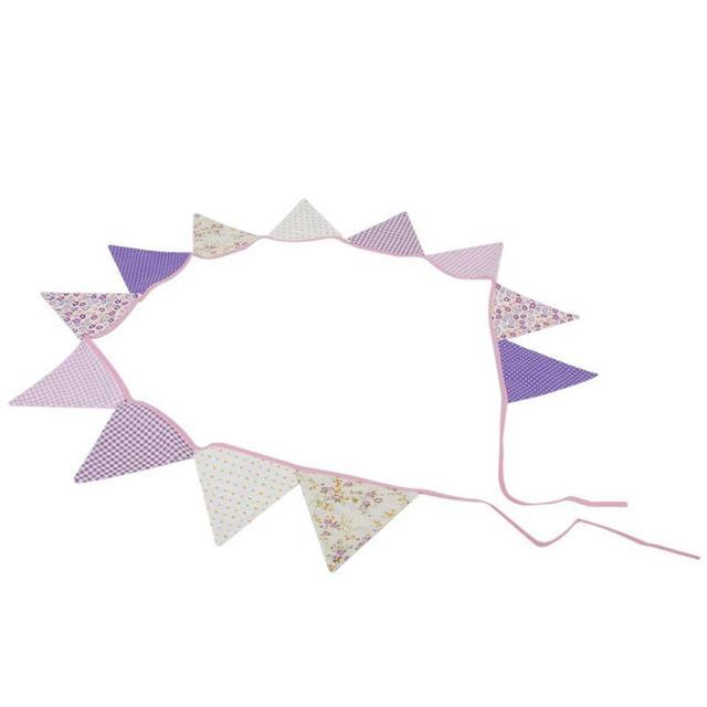 12pcs purple series cute cotton fabric banners personality wedding