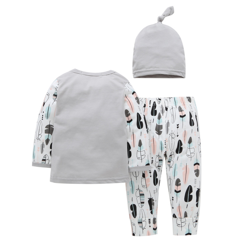 Fashion Baby Girls Clothes Infant Outfits Baby Lace T shirt Long Pants Hat Newborn Clothing Set