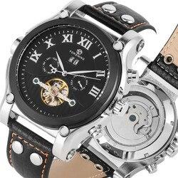 Praktyczne kalendarz Dial automatyczne mechaniczne zegarki własna wiatr dla mężczyzn szkielet luksusowe Tourbillon mechaniczne zegarki na rękę