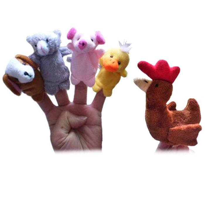 5 Pcs Frog Hen Mouse Animals Story Telling Finger Puppets 4