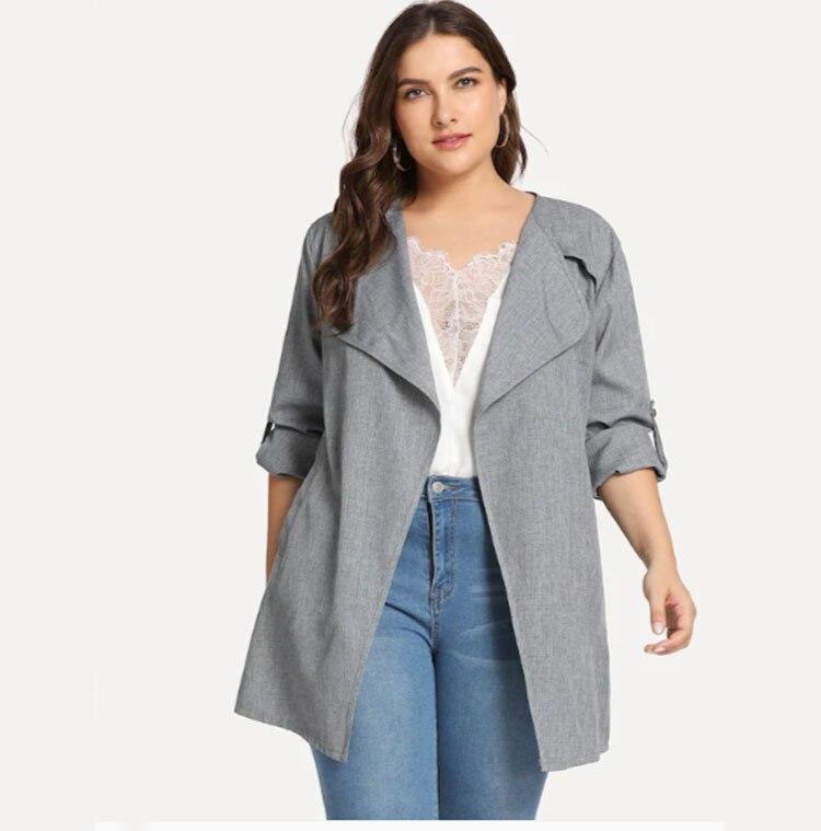 women   trench   long coat plus size bandage outwear