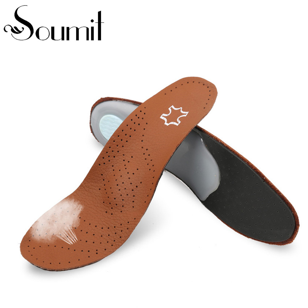 Premium Breathable Orthotic Genuine Cowskin Cowhide Shoe Insole High Arch Cushion for Reducing Flat Foot Pain Correction O X Leg