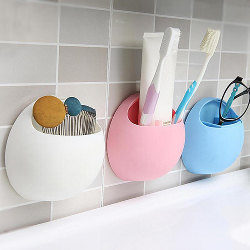 Toothbrush Holder Pen Glasses Holder Wall Suction Cups Shower Holder Cute Sucker Suction Hooks Bathroom Accessories Set #0305