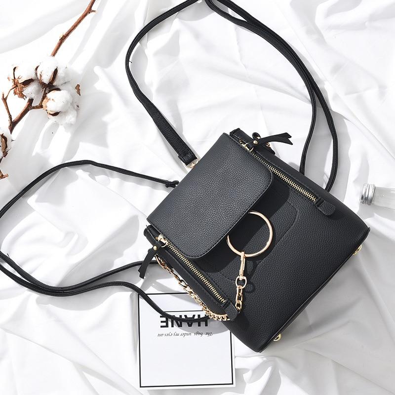 2018 New Arrive Women Luxury Brand Chloe Backpack Mini Bolsa Termica Tassel Shoulder Bags Carteras Mujer Ring Bag Chain