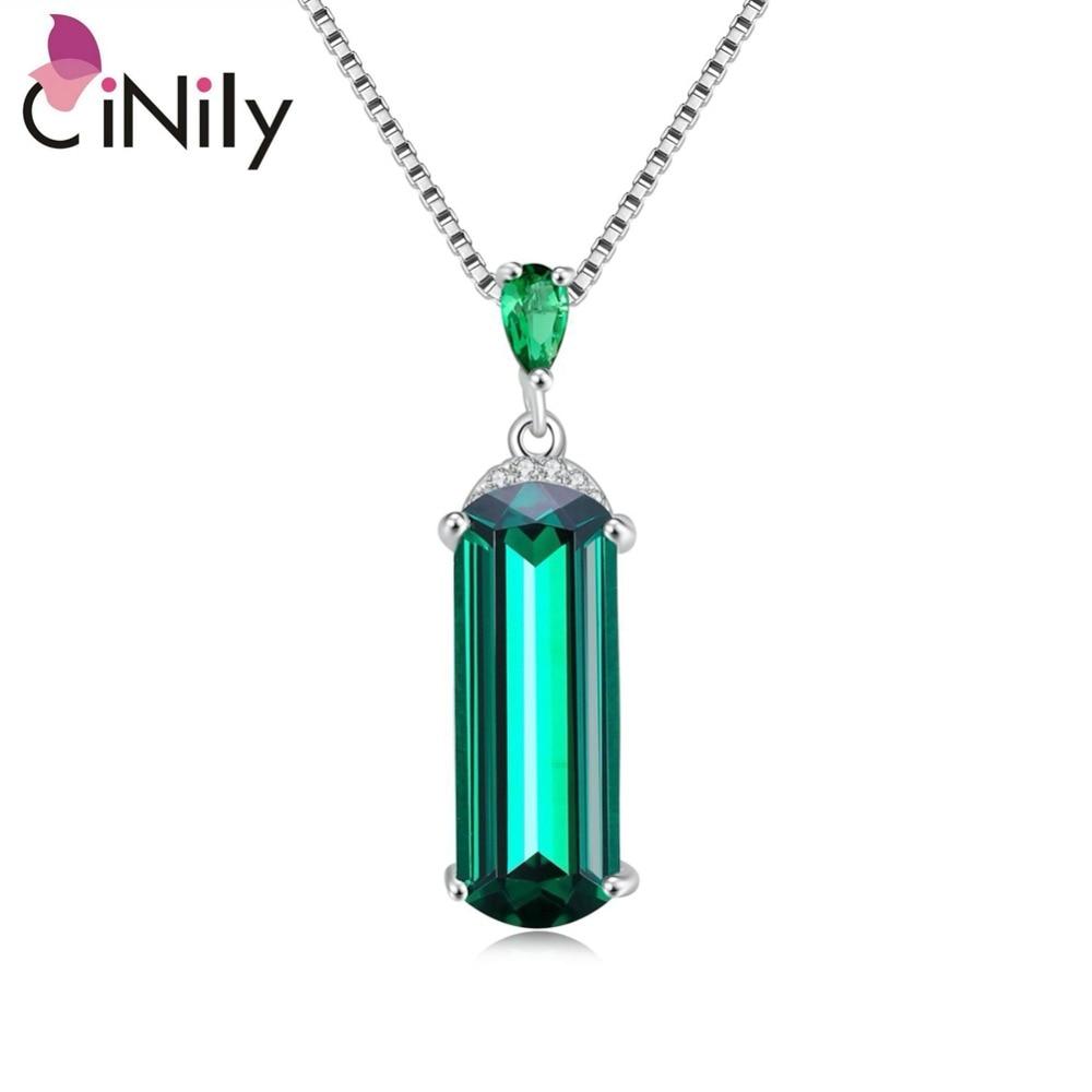 CiNily վավերական: Կոշտ 925 ստերլինգ արծաթ ստեղծված կանաչ զմրուխտաձև կախազարդ կանանց համար, նուրբ զարդերի կախազարդ առանց շղթայի SP017