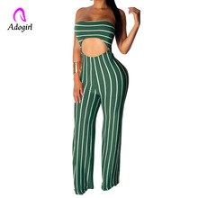 купить Off Shoulder Bodysuit Tracksuit Rompers Womens Jumpsuit Sleeveless Skinny Striped Print Slim Casual Overalls Combinaison Femme дешево