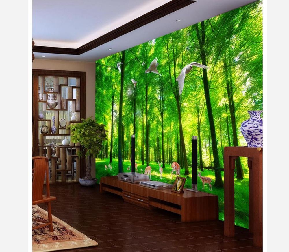3d customized wallpaper Green tree elk spring landscape 3d background wall murals Home Decoration image