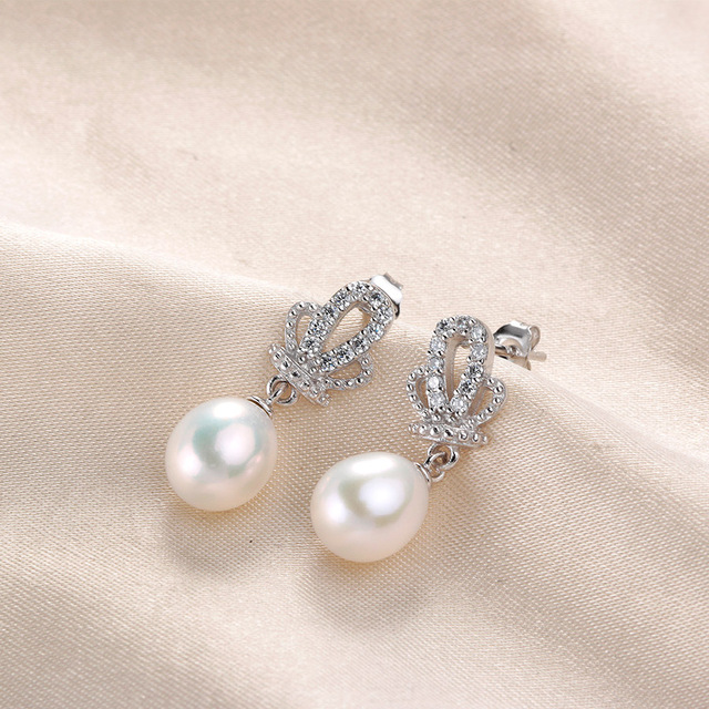 Fashion Crown AAA Zircon 8-9mm Natural Freshwater Pearl Wedding Drop Earrings For Women 4 Colors Silver 925 Real Pearl Jewelry