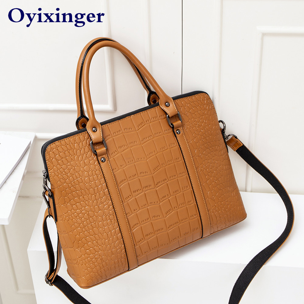 Fashion Occupation Women Briefcase Office Work Shoulder Bag Female A4 File Package Ladies Leather Business Briefcases Handbags