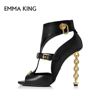 Chain Heel Sexy Belt Buckle Sandals Metal Ring Open Toe Street Shoot High Heel Stiletto Party Sandalias Mujer Plus Size 35# 43#