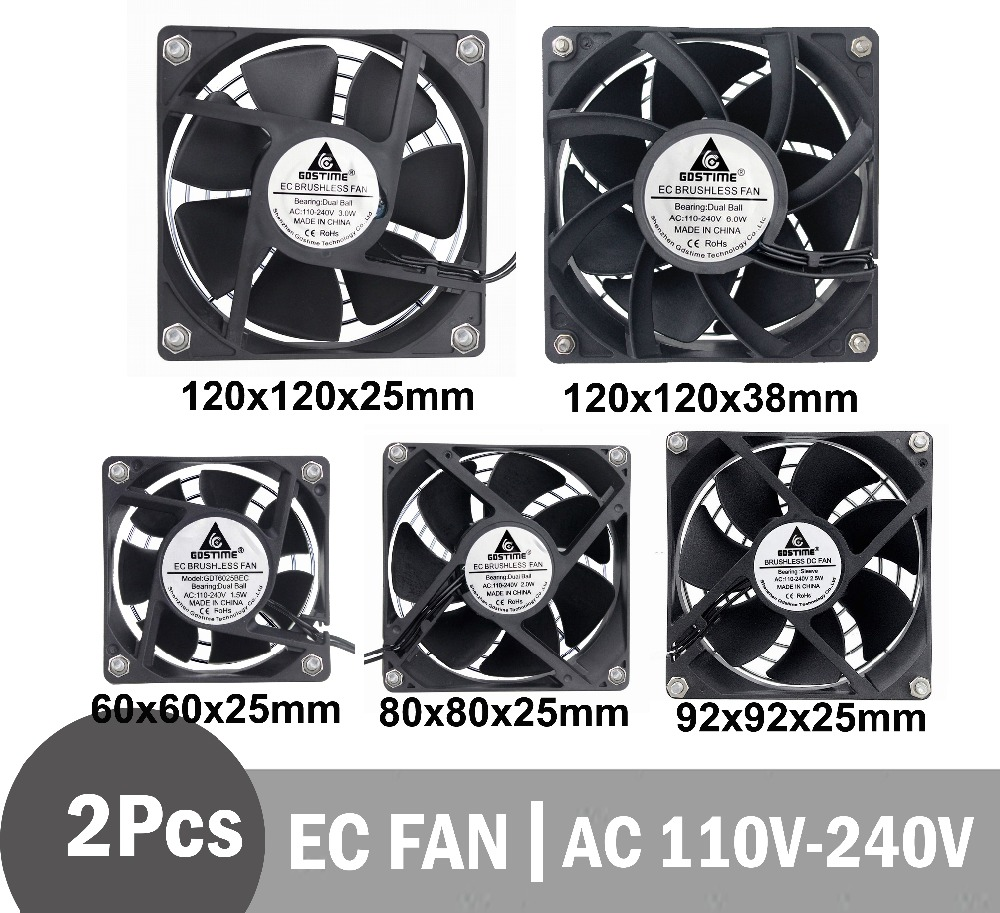 2Pcs Gdstime  EC Brushless Fan Axial Fan 60mm 80mm 90mm 120mm PC Cooler AC 110V 115V 120V 220V 230V 240V EC Fan Computer Case