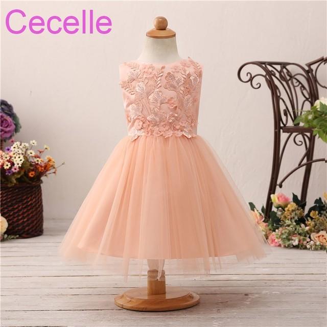 435853017594 2019 Coral Short Cute Flower Girls Dress For Wedding Sleeveless Lace Satin Tulle  Princess Little Girls Wedding Party Dress