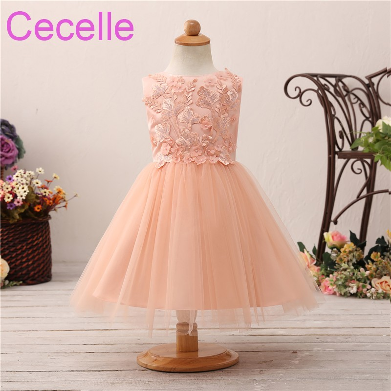 2019 Coral Short Cute   Flower     Girls     Dress   For Wedding Sleeveless Lace Satin Tulle Princess Little   Girls   Wedding Party   Dress