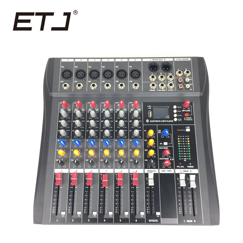 ETJ Brand CT-6 Audio Mixer With USB Input Sound Console 6 Channels DJ Equipment 48V Phantom Power Supply vadiboer f8 professional 6 channels mixer console with bluetooth effect 48v phantom power supply mini stage audio console equipm