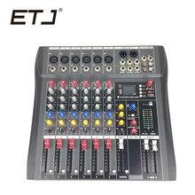 ETJ Marca CT-6 Mixer De Áudio Com Entrada USB De Som Do Console 6 Canais DJ Equipamentos 48 V Alimentação Fantasma
