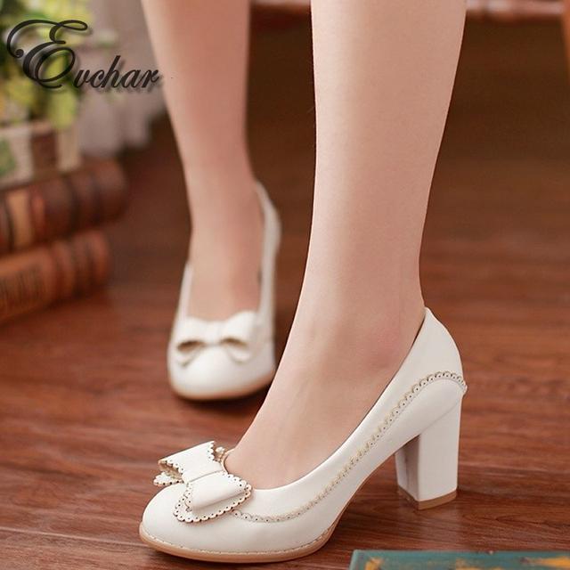 Primavera/otoño de LA PU en relieve de cuero Tacones Altos Zapatos Dulces Bombas Slip-on Tacones gruesos bowtie Encantadoras zapatos de Tamaño 32-43