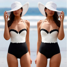 white black Monokini Stripes Swimwear Women Top Halter Swimsuits One Piece Swimsuit Vintage Swimwear Women Bodysuit surfing beac(China)