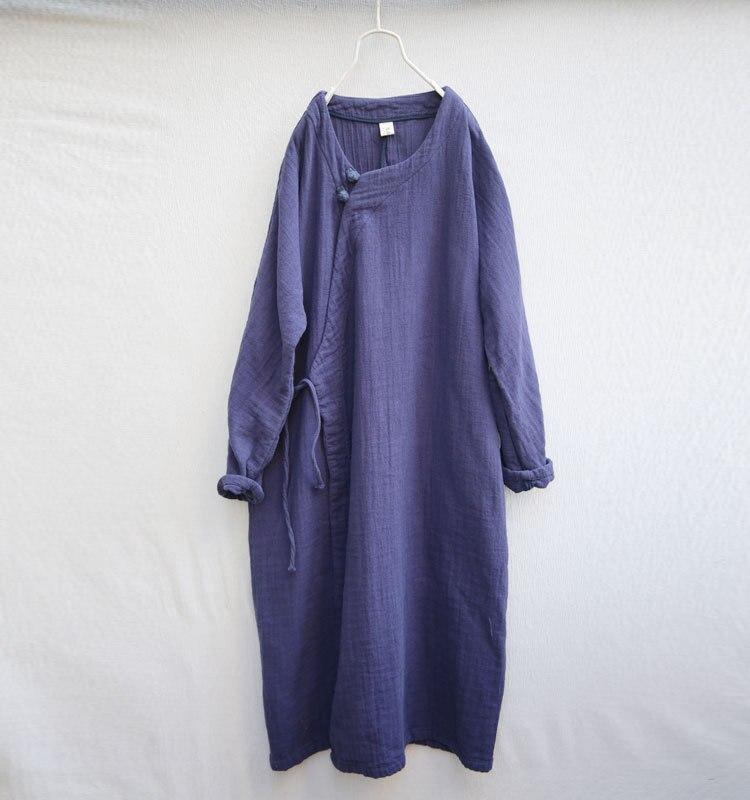 Manteau Cardigans Long Littérature D442 Style Lin Coton O Vintage Femmes rouge Printemps 2018 Et Lâche Tranchée Bleu cou WwYxIvqBn8