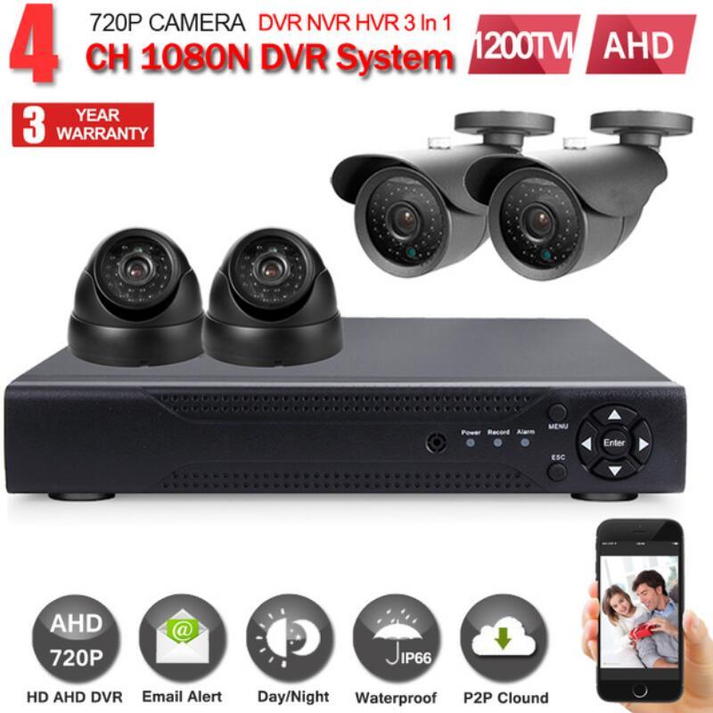 Security Camera System 4ch CCTV System DVR DIY Kit 4 x 1080P IP67 Weatherproof 1.0mp Security Camera Surveillance System