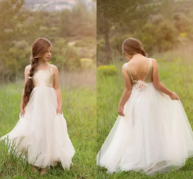 Newest Flower Girls Dresses For Weddings Princess Style Boat Neck Backless Gold Sequins On Top Tulle A-Line 2018 Customized Gown