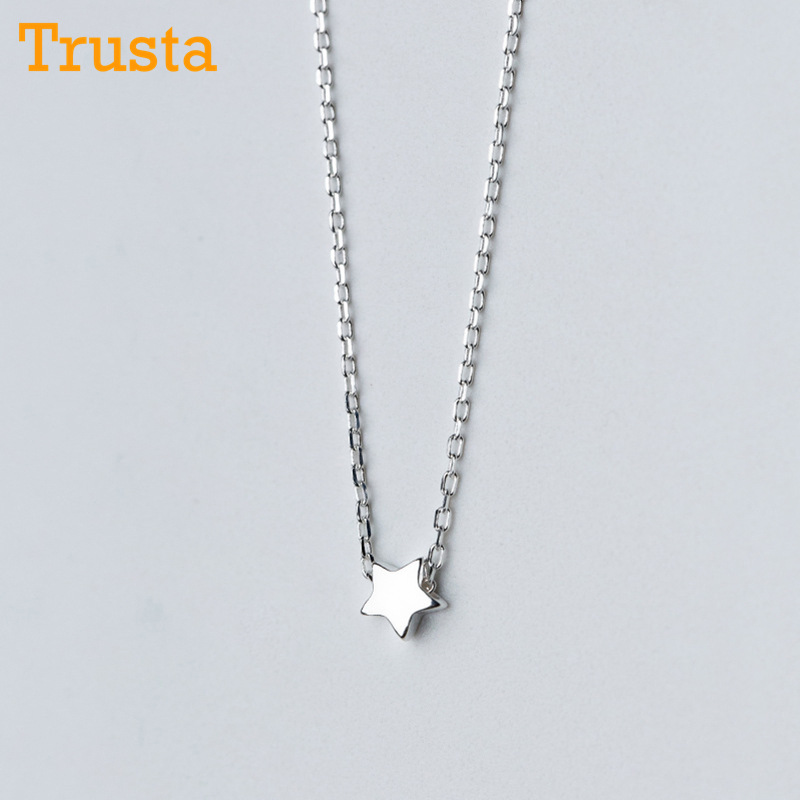 Trusta 100% 925 Solid Real Sterling Silver Jewelry 4mm Star Pendant 43cm Short Clavicle Necklace For Women Girl Jewelry DS1128 цена