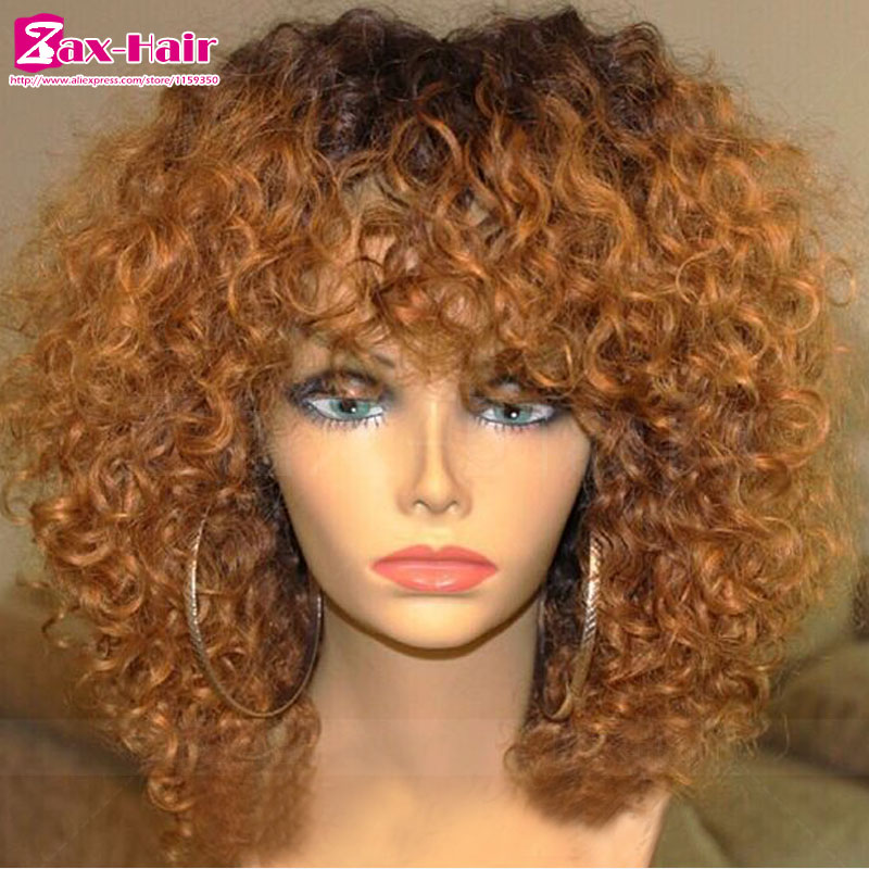Ombre Glueless Full Lace Human Hair Wigs For Black Women Lace Front Wig Curly 7A Virgin Brazilian Human Hair Lace Wig Two tone