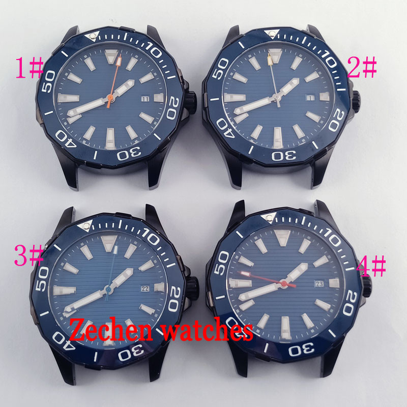 45mm watch case Sapphire Glass Blue Dial fit parnis mens watch Miyota 8215 Automatic watch 42mm parnis withe dial sapphire glass miyota 9100 automatic mens watch 666b
