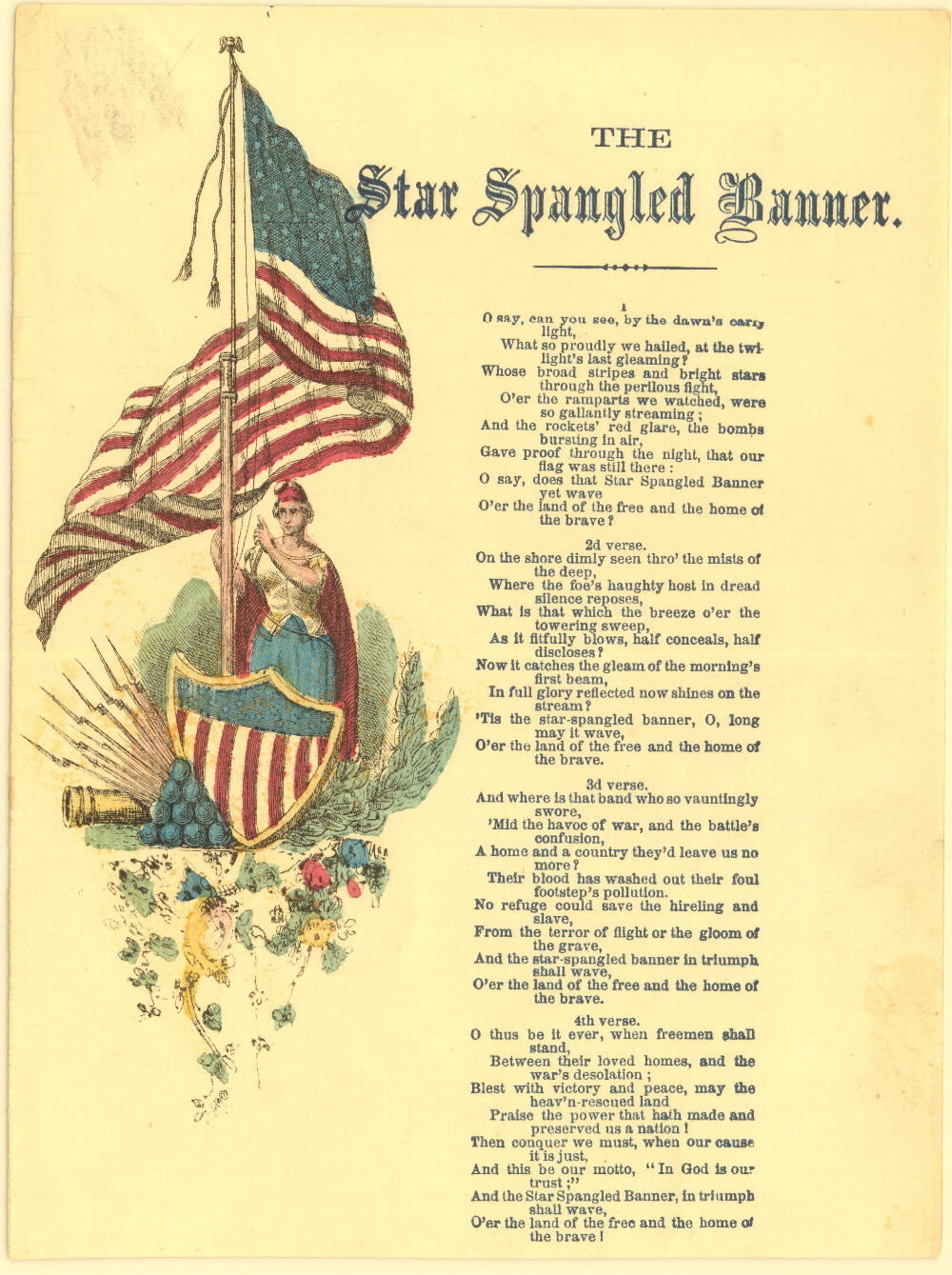 The Star Spangled Banner Map Classic Vintage Retro Kraft Decorative ...