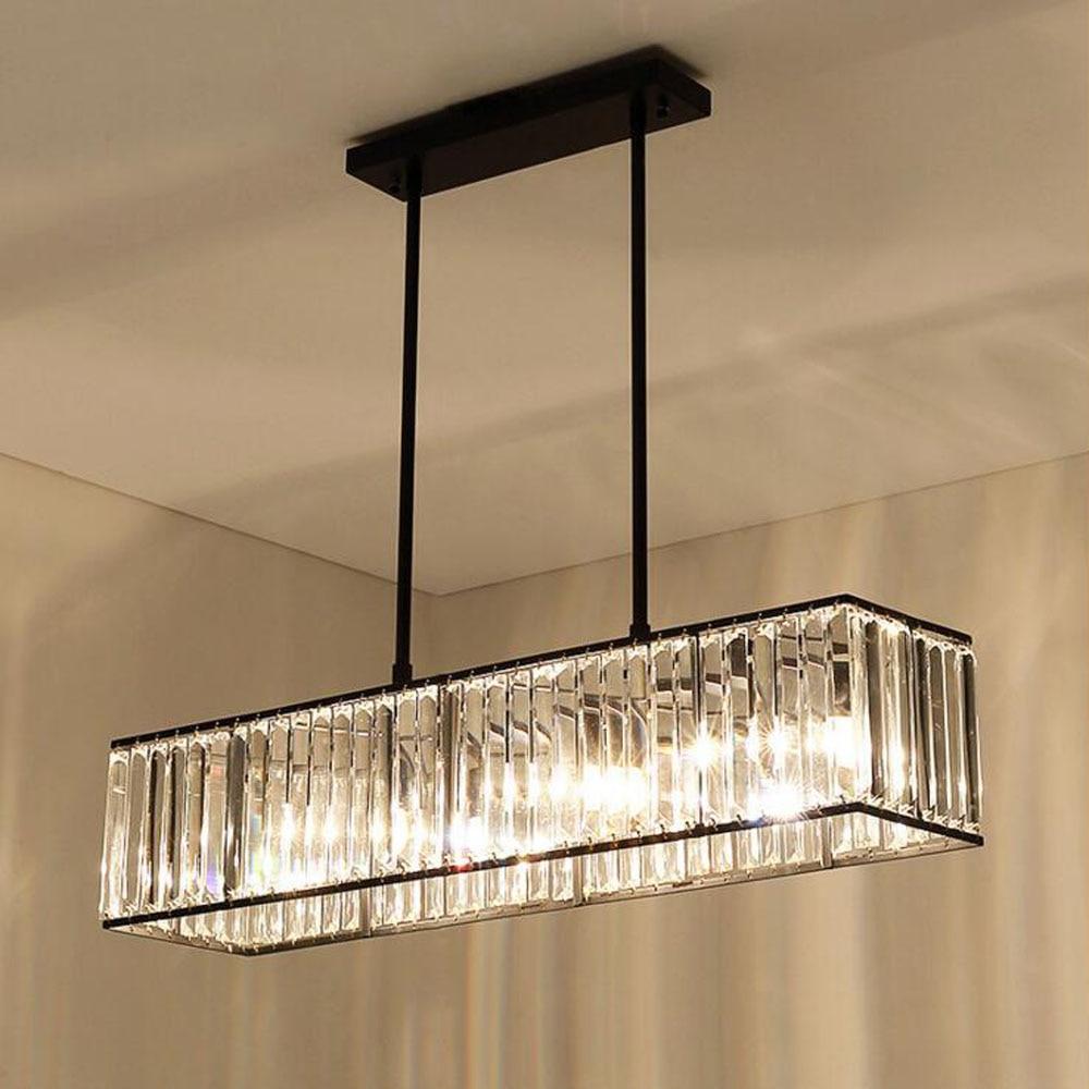 American crystal chandeliers modern minimalist restaurant bar lamp European retro iron dining chandeliers long table chandeliers