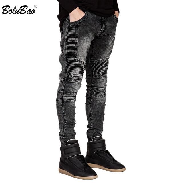 BOLUBAO 2018 nuevos hombres pantalones vaqueros pista Slim Racer Biker Jeans  de moda Hiphop Skinny vaqueros 0c14a5fcacc
