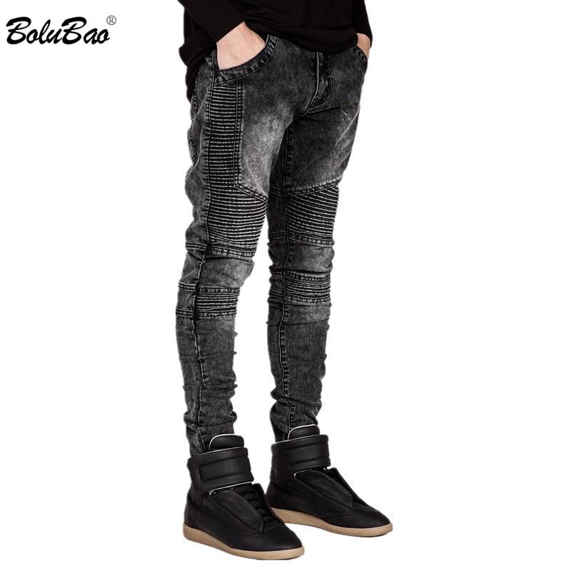 BOLUBAO New Men Jeans Runway Slim Racer Biker Jeans Fashion Hiphop Skinny Jeans For Men Denim Joggers Jeans