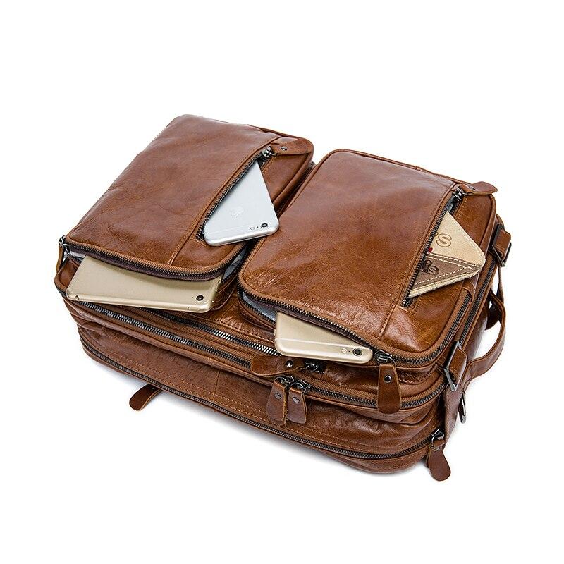 Norbinus мужской портфель из натуральной кожи, Вместительная деловая сумка для ноутбука, многофункциональная сумка мессенджер на плечо, мужска... - 5