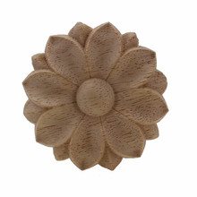 VZLX Flower Wood Carving Natural Appliques for Furniture Cabinet Unpainted Wooden Mouldings Decal Decorative Home Decoration(China)