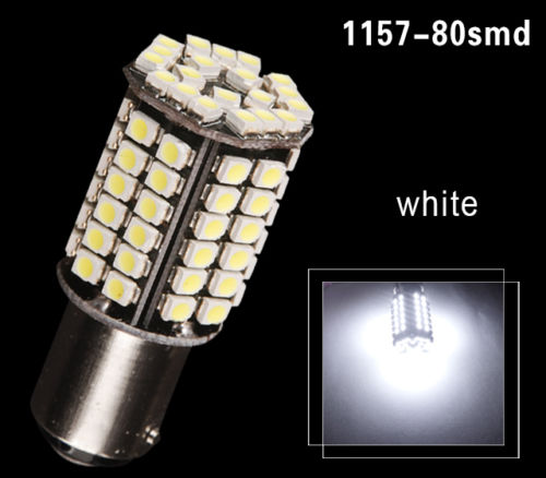 CYAN SOIL BAY Super Bright 80 SMD BAY15D 1157 P21/5W Xenon White Tail Stop Brake Light LED Bulb 12V Reverse Lamp Red